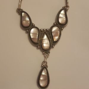 Zuni silver and pink necklace